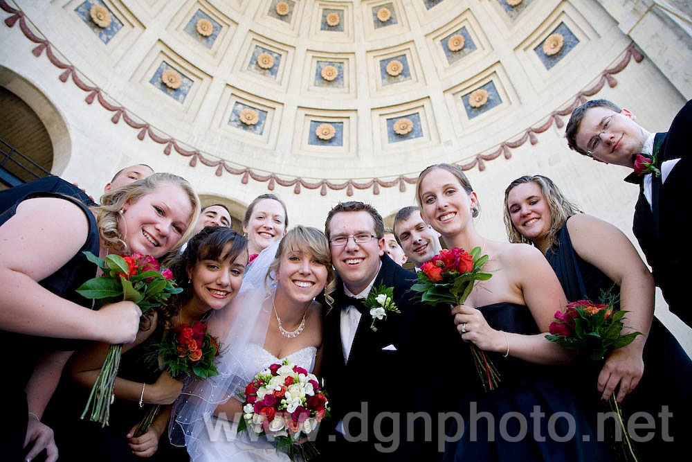 Chelsea &amp; Jim with their bridal party at the Ohio Stadium
