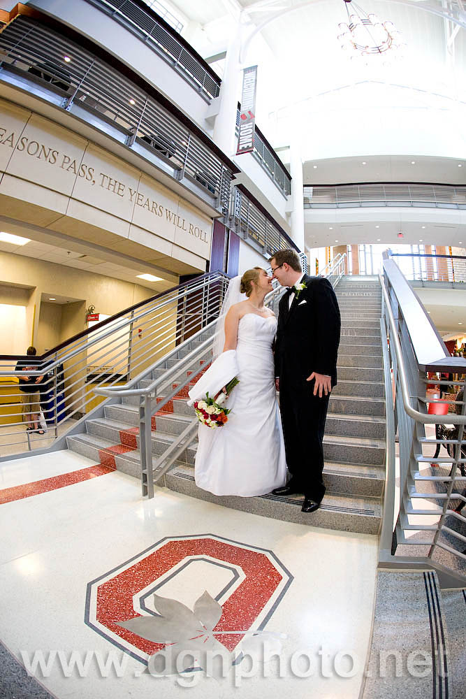 Chelsea & Jim... in love on the steps of the Ohio Union with the big block O