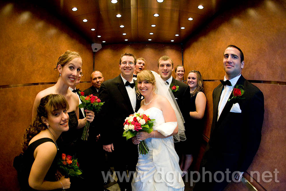 Chelsea &amp; Jim's wedding - with the bridal party in the elevator at the Ohio Union