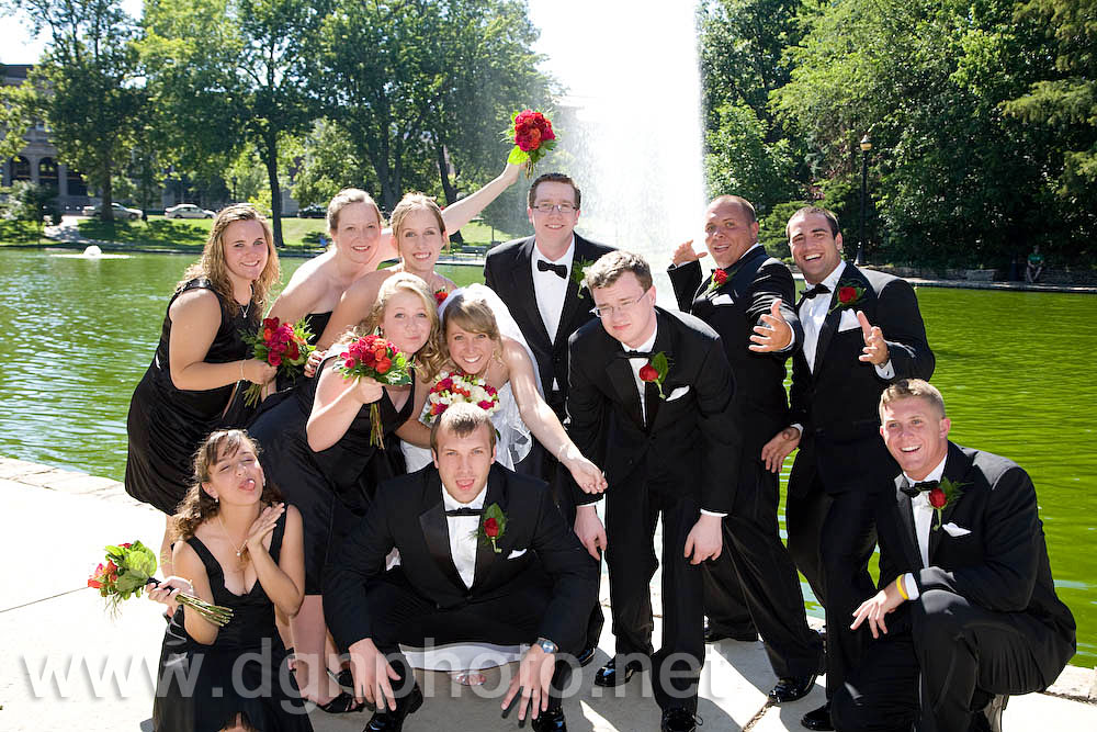 Chelsea & Jim's wedding - with the bridal party at Mirror Lake at the Ohio State University campus