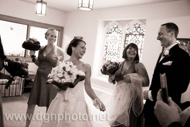 having some laughs after the ceremony