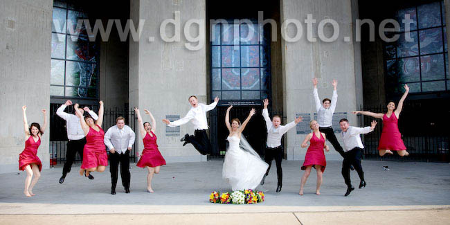 bridal party jumping, woohoo, how high!
